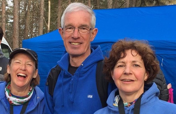 Julia Greenlees, Iain Thomson and NIcola Watson at the finish of the Hoka Highland Fling